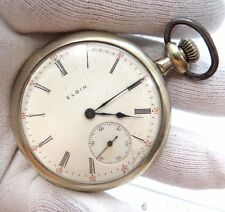 "ELGIN,1910,Model 6,7j,16s,Nickle Plated CASE ""Open Face""CLASSIC POCKET WATCH,671"
