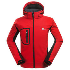 Men's Soft Shell Fleece Lined Outdoor Jacket Clothes Hiking Climbing Coat Red L