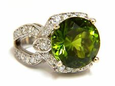 GIA Certified 12.15ct natural green peridot diamond ring 14kt