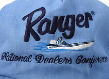 Vtg 80s RANGER Boat Dealer Blue Mesh Snap Back Trucker Hat Baseball Cap Fishing
