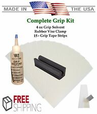 Golf Club GRIP KIT 15 Grip Tape Strips-Solvent-Vise Clamp-Regripping Directions