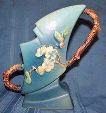 """Roseville Blue Apple Blossom Planter Handled Vase 373-7"""" Art Pottery"""