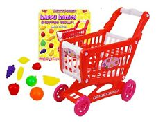 Childrens Shopping Trolley Basket & Food - Pretend Shop Keeper Role Play TY394