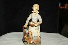 "Vintage 8""  Porcelain Woman Figurine Carrying Basket Of Eggs With Hens By Feet"
