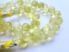 7mm Micro Faceted Onion Briolette Genuine Lemon Quartz Gemstone Beads - 6 pcs