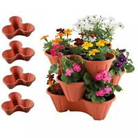 New Set Of 4 Stackable Terracotta Garden Trio Plant Pots Flower Herb Planter Tub