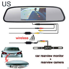 4.3'' LCD Car RearView Mirror Monitor+Wireless Reverse Backup Camera Parking Kit