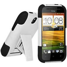 Amzer Soft + Hard Shell Case Cover w/ Kickstand For HTC One SV - Black / White