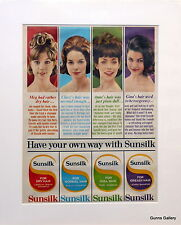 Original Vintage Advert mounted ready to frame Sunsilk Hair Shampoo 1963