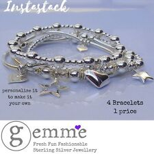 Sterling Silver Chunky Stretch 4 Bracelet Stack, hearts & stars, Personalise it!