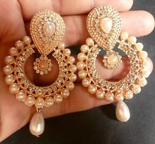 Rose Gold Plated Pearl Setting Indian 5 cm Long Indian Jhumka earrings Set