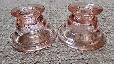 Pink Federal Madrid Depression Glass Candlestick Set