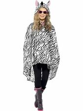 Unisex Womens Mens Zebra Party Poncho Festival Animal Waterproof Fancy Dress Fun