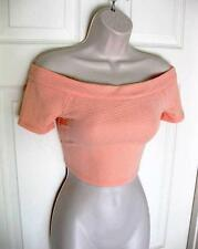 BEBE PEACH TEXTURED OFF SHOULDER BUTTON DETAIL CROP TOP NEW NWT MEDIUM M