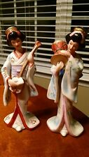 Capodimonte Asian Geisha Porcelain Figurines Made in Korea - Musical Instruments