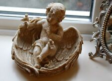 Large Sitting Cherub Ornament Home Garden Luxury Gift Angel Wings Birds Figurine