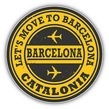 "Barcelona City Spain Travel Stamp Car Bumper Sticker Decal 5"" x 5"""