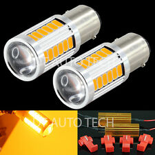 1156 5630 Chip LED Yellow/Amber Turn Signal Brake Tail Light Bulbs+Resistors