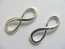 4 Large Metal Silver Plated Infinity Charms/Connectors - 30mm x 10mm