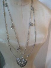 (*_*) Chunky Heart Silver Sweetheart Multi Charm Necklace Angel Crown Ribbon Etc