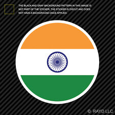 Round Indian Flag Sticker Die Cut Decal Self Adhesive Vinyl India IND IN
