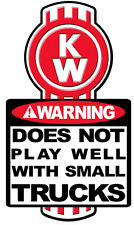WARNING DECAL KENWORTH  SIZE 173MM BY100MM GLOSS LAMINATED