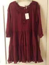 NWT FREE PEOPLE Cut-Out Lace Trim Mini Dress in Scarlet Red F958Y327 $148 Size L