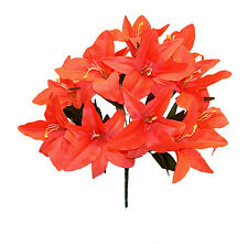 12 Tiger Lilies Lily ~ CORAL ORANGE ~ Silk Wedding Flowers Bridal Centerpieces