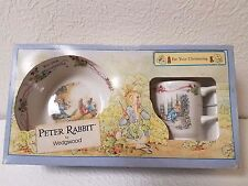 WEDGEWOOD PETER RABBIT 2 PC CHRISTENING CUP AND BOWL SET MADE IN ENGLAND NIB