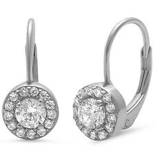 Halo Style Round Cz Solitaire Drop Dangle .925 Sterling Silver Earrings
