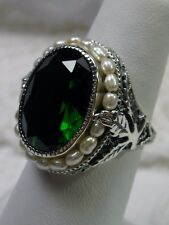 *Green Emerald* & Seed Pearl Sterling Silver Leaf Victorian Filigree Ring Size 8