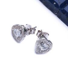 .50ct CZ Heart LOVE Stud .925 Sterling Silver Earrings