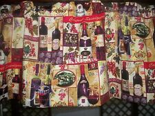 Wine Bottle Glass Grapes french country kitchen fabric curtain topper Valance