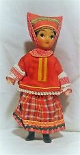 VINTAGE RUSSIAN COSSACK COSTUMED GIRL DOLL JOINTED w/PAPER LABEL HAIR BRAID