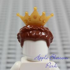 NEW Lego Female Princess BROWN QUEEN HAIR - Castle Girl Braid w/Gold Tiara Crown