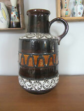 Mid century large west german 408-40 brown white mustard fat lava ceramic pot