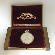 Vintage Longines 14K Solid Gold Pocket Watch Grade 17L with Box