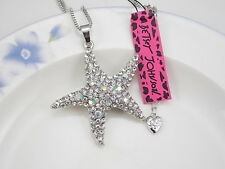 Betsey Johnson Fashion Jewelry rhinestone starfish pendant necklace # F388A