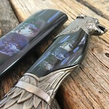 "13"" Collectors Wolf Head Dagger Hunting Knife W/ Wolf Pack Printed Sheath"