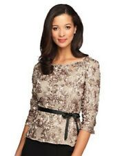 Alex Evenings  Rosette-lace 3/4-sleeve Top Size M #A578