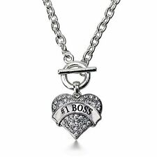 Inspired Silver #1 Boss Pave Heart Toggle Necklace Clear Crystal Rhinestones