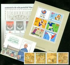MACAU : Grouping of 3 S/S & 1 Unfolded Strip from the 1980s. VF MNH. Cat $138.50