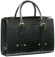 RAPHAEL Crocodile Black Briefcase Laptop Buckingham BUSINESS Portfolio - ITALY
