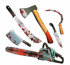 6 Halloween ZOMBIE BLOODY WEAPON Cutouts CLEAVER GARLAND Party CHOP SHOP