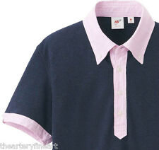 MICHAEL BASTIAN x UNIQLO Washed Navy Polo Shirt w/ Contrasting Collar M **NEW**