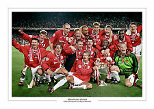 TREBLE WINNERS MANCHESTER UNITED PRINT PHOTO 1999 CHAMPIONS LEAGUE UTD A4