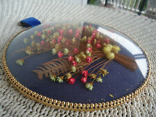 vintage domed convex glass round picture frame dried flowers italy
