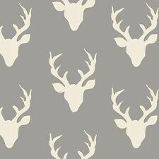 ART GALLERY FABRIC DEER SILHOUETTE - HELLO BEAR - BUCK FOREST MIST IN KNIT