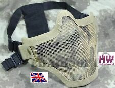 AIRSOFT HALF FACE METAL MESH MASK ADJUSTABLE STRIKE V1 TAN SAND CAMO KHAKI
