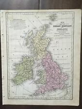 """Hand-Colored Map of Great Britain & Ireland  (1855)-""""Mitchell's School Atlas"""""""